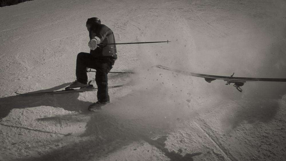 Skiing on one ski