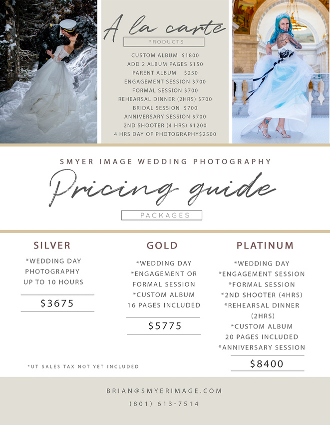 2020 Smyer Image Wedding Photography Pricing Guide