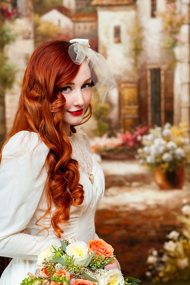 Vintage bride in a painting