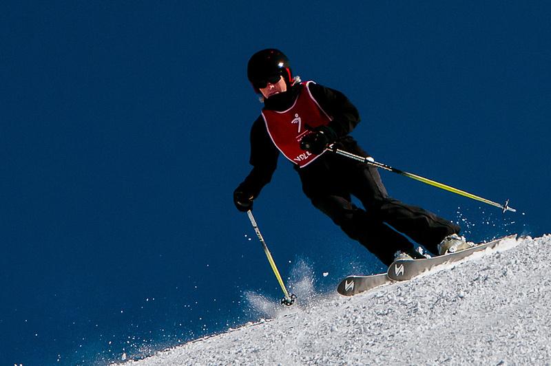 Skier with bluebird sky