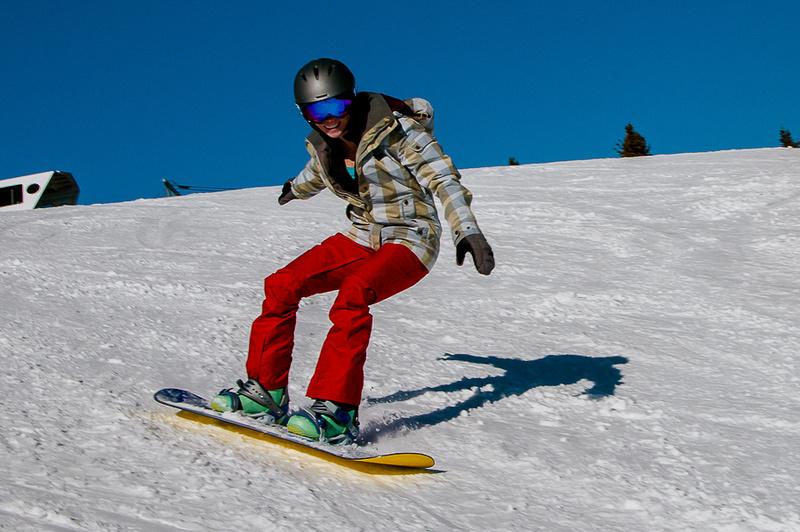 Happy Snowboarding Lady Veteran