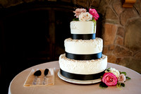 Snowbasin Wedding Inspiration-Curits-C-Cakes 3 tier wedding cake in front of fireplace.