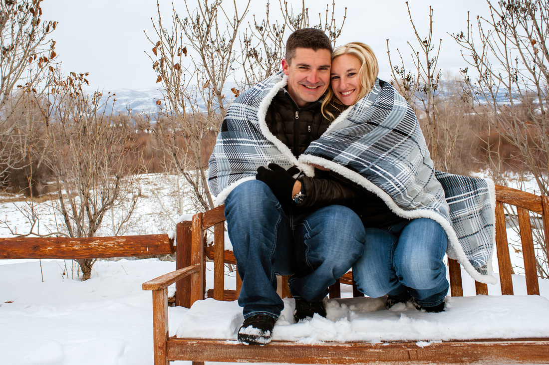 Snow covered couple