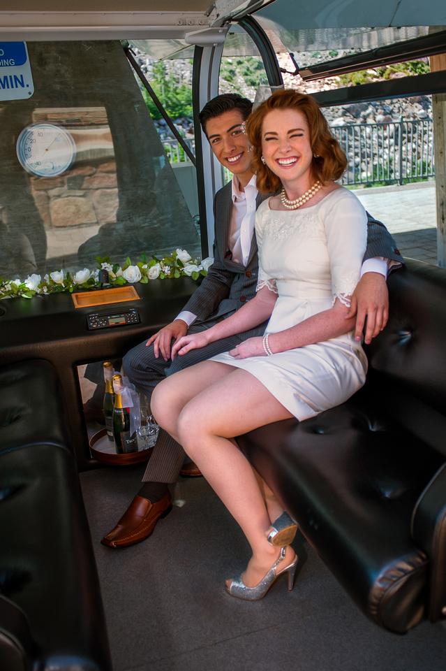 Snowbasin Wedding Inspiration Bride and Groom ride gondola
