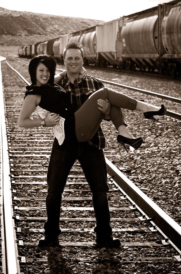Sepia Portrait on Train Tracks