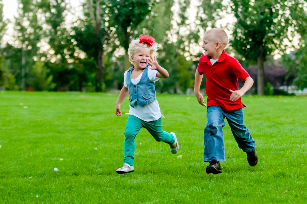 Kids running on grass