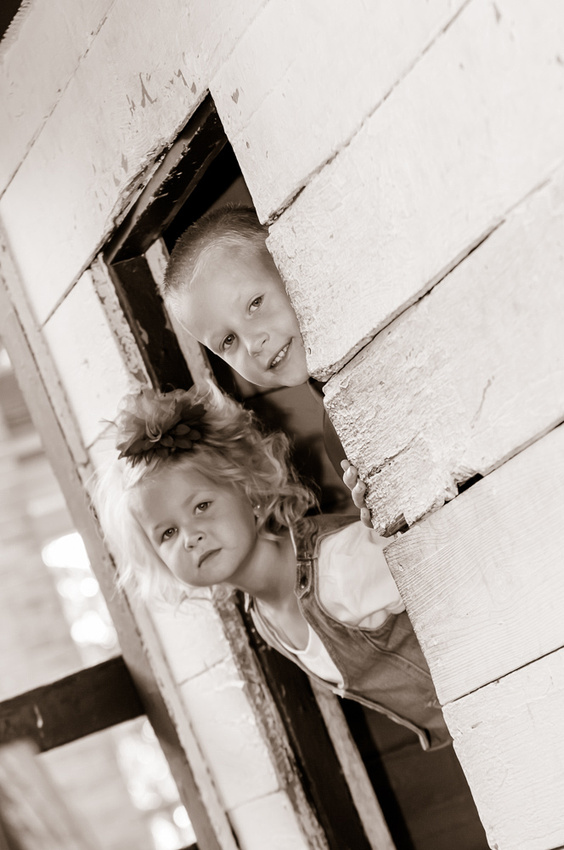 Sepia kids playing