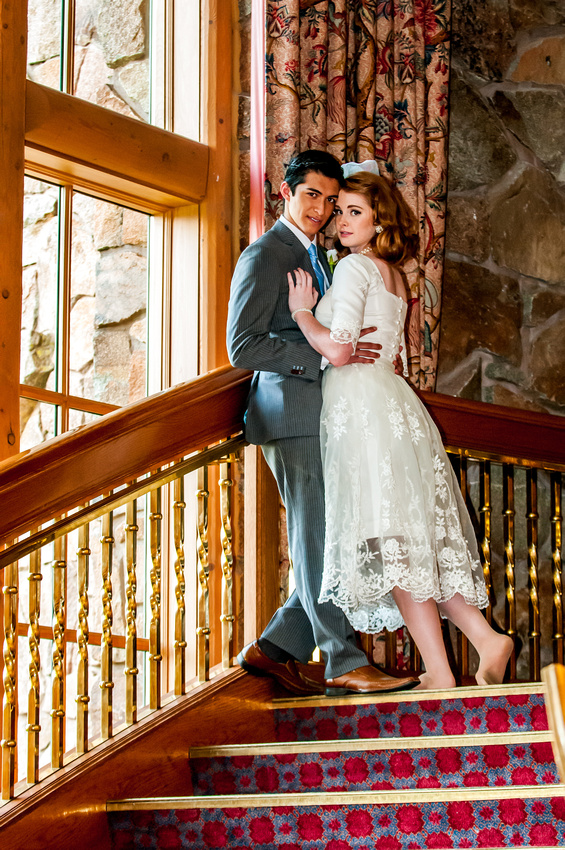 Snowbasin Wedding Inspiration-Bride and groom on Staircase.