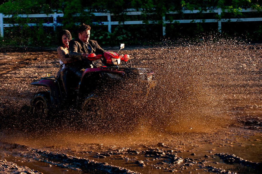 Bride and Groom hit mud wave