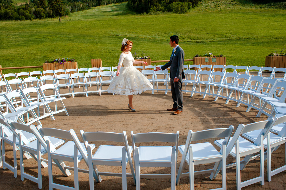 Snowbasin Wedding Inspiration-Bride and groom dance in circle ceremony.
