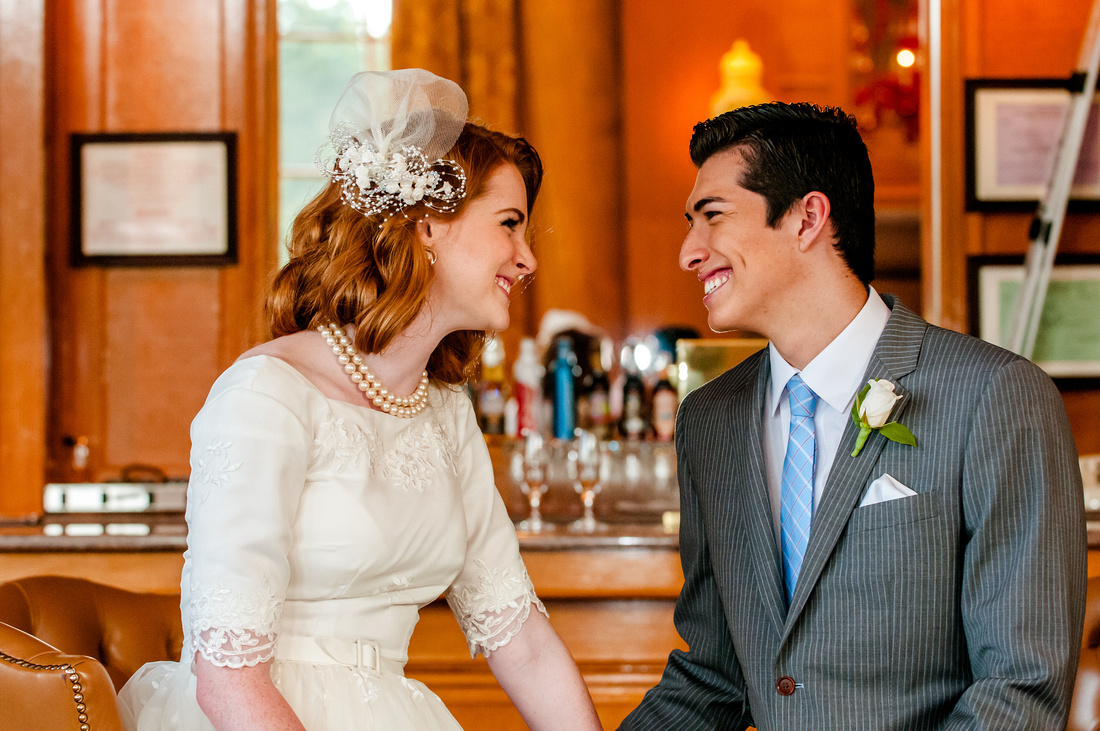 Snowbasin Wedding Inspiration-Bride and groom in the Earl's Lodge.