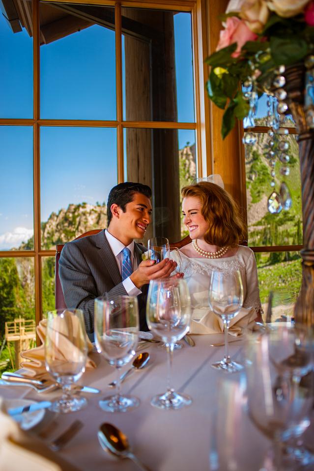 Snowbasin Wedding Inspiration-Bride and Groom toast