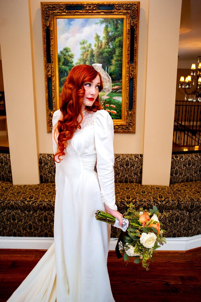 Captivating bride inside the Woods on Ninth