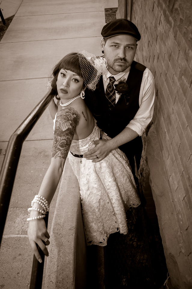 Vintage bride and groom in black and white