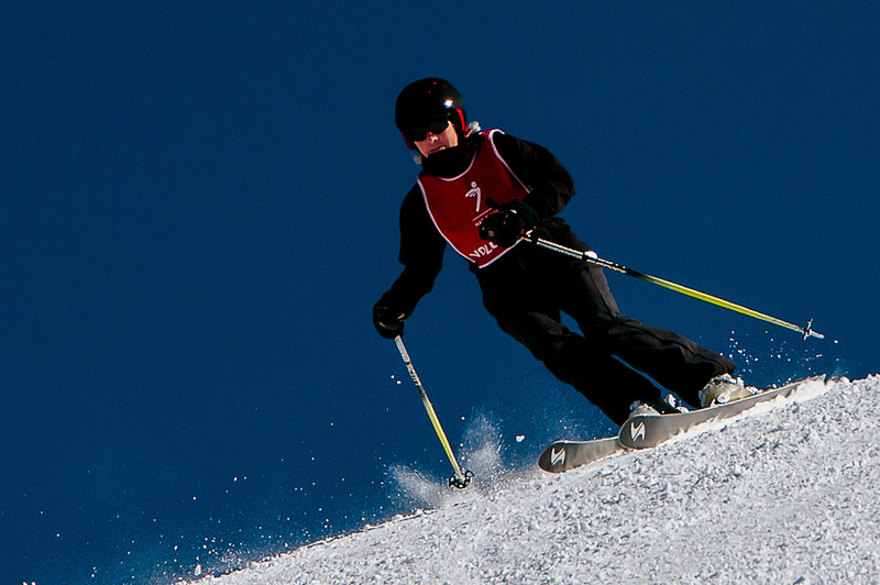Skier with bluebird sky