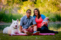 Family portraits with newborn and pet dog
