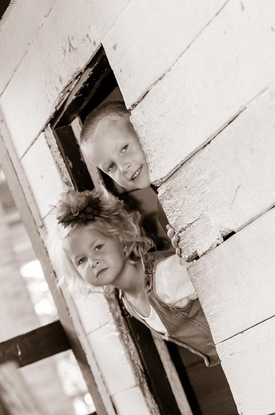 Sepia kids playing