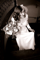 40's inspired bride in wedding dress on staircase at the Woods on Ninth, Utah