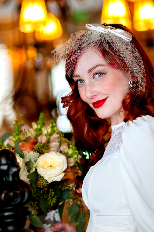 Red headed bride with soft bokeh background